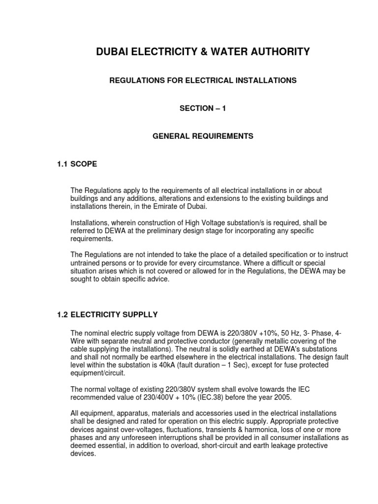 Dewa Regulations For Electrical Installations Auto Transformer Wiring Diagram On 1000v Motor