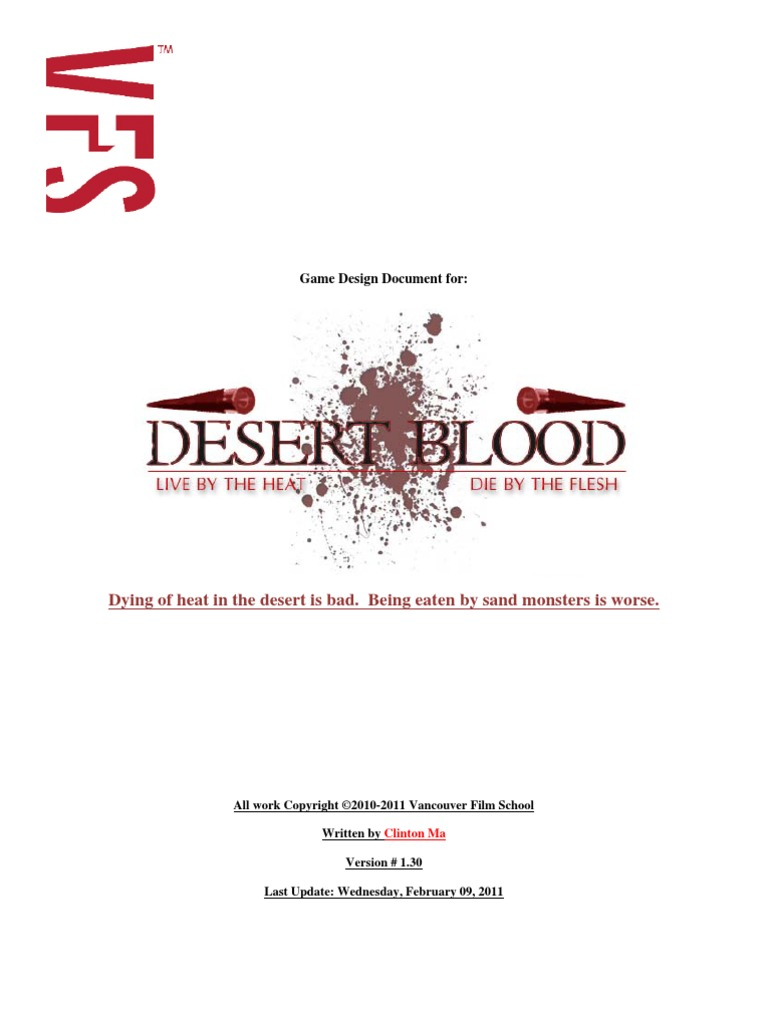 Download Desert Blood Game Design Document DocSharetips - Game design document download