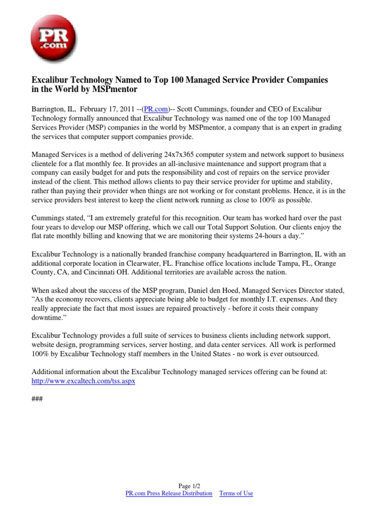Download Excalibur Technology Named to Top 100 Managed