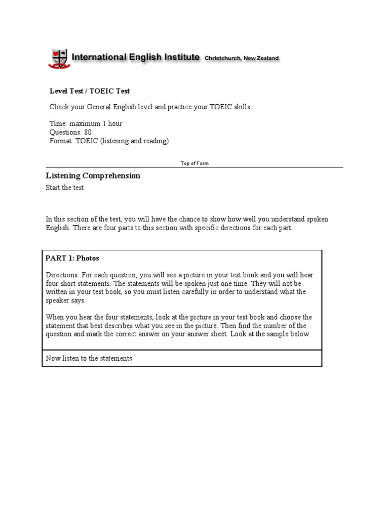 Download Sample Toeic Test - DocShare.tips