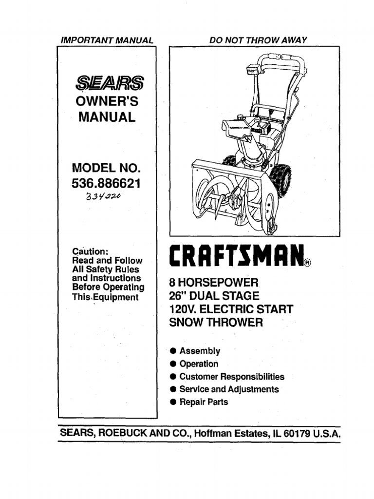 craftsman 8 24 snowblower manual