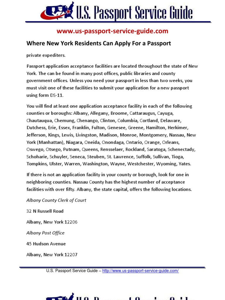 Where New York Residents Can Apply For A Passport Requirements
