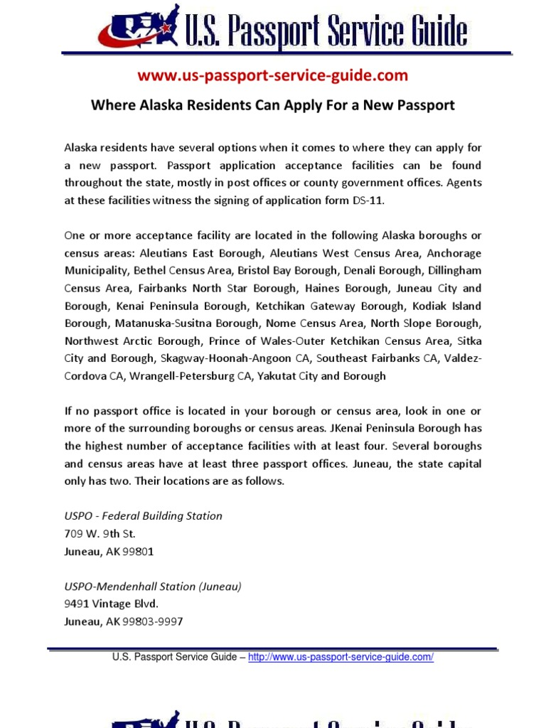 Where Alaska Residents Can Apply For A New Passport