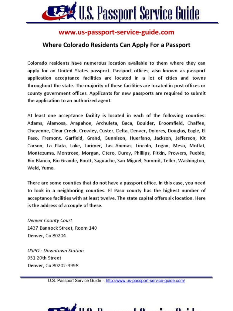 Where Colorado Residents Can Apply For A Passport