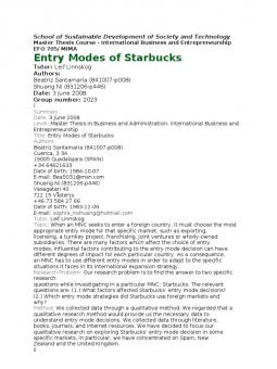 entry modes of starbucks