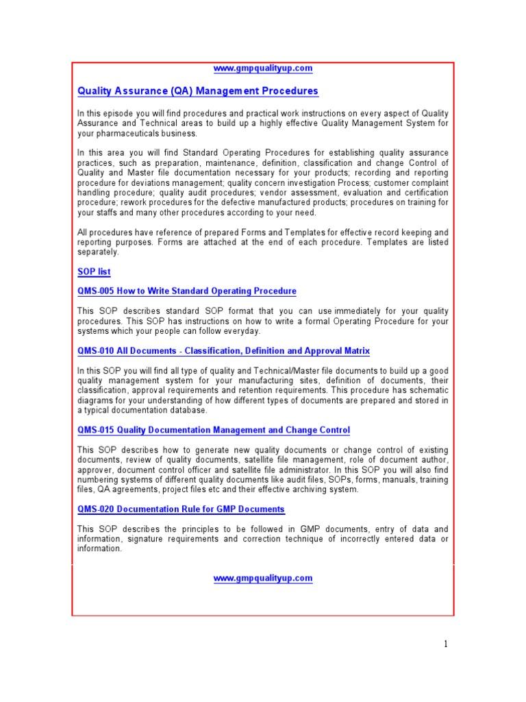 GMP Quality Assurance Procedures - DocShare.tips