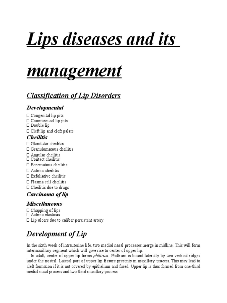 Lip Diseases - DocShare tips