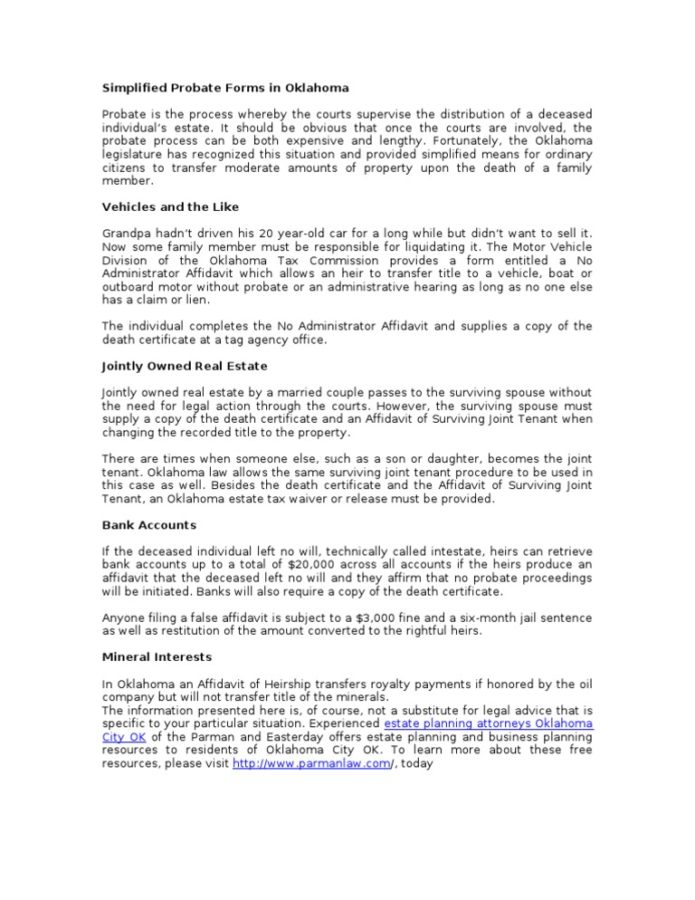 Parman Probate Avoidance Forms Docshare
