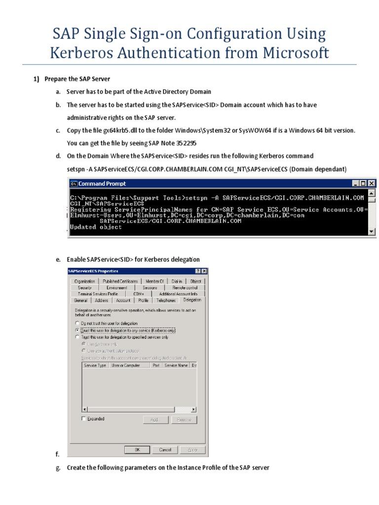 SAP Single Sign on Using Kerberos - DocShare tips