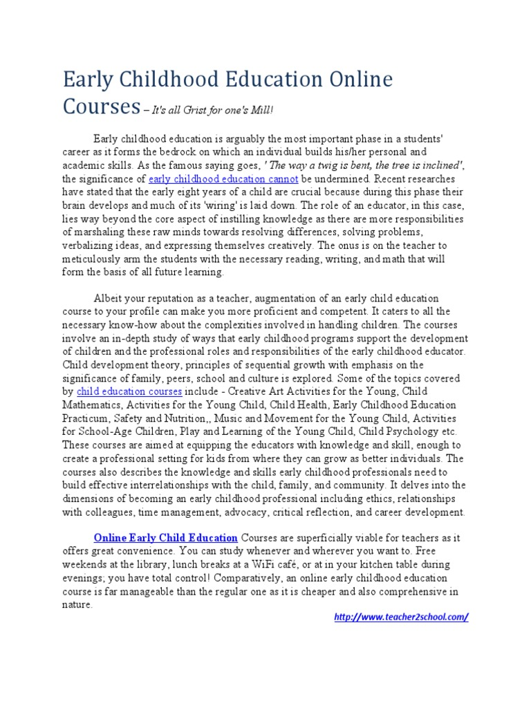 Download Online Early Education Courses Pacific Oaks College
