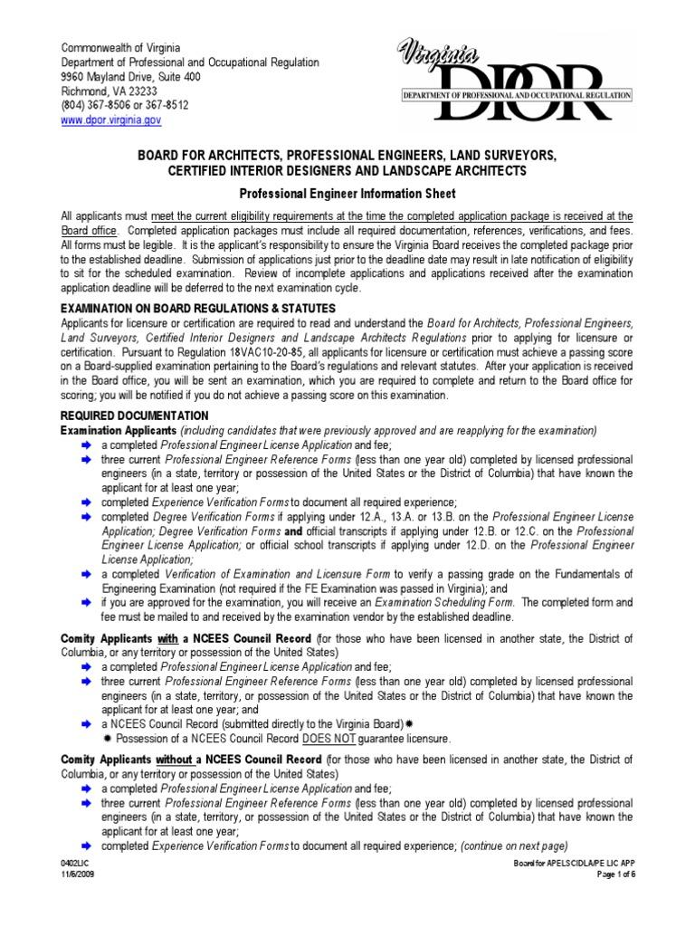 Professional Engineer License - VA - DocShare tips