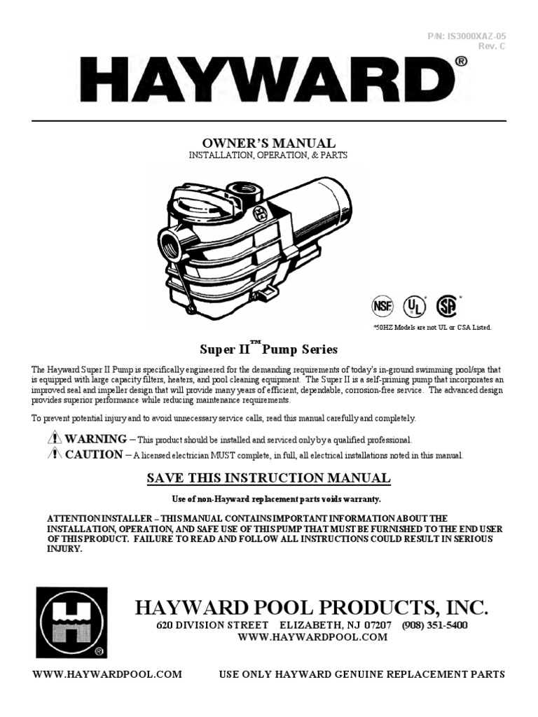 Hayward Super Ii Pump Model Sp3005x7 Manual Installing For Pool