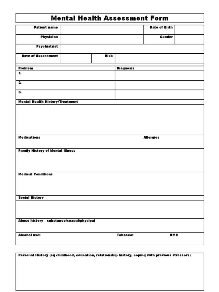 Mental Health Assessment Form Template