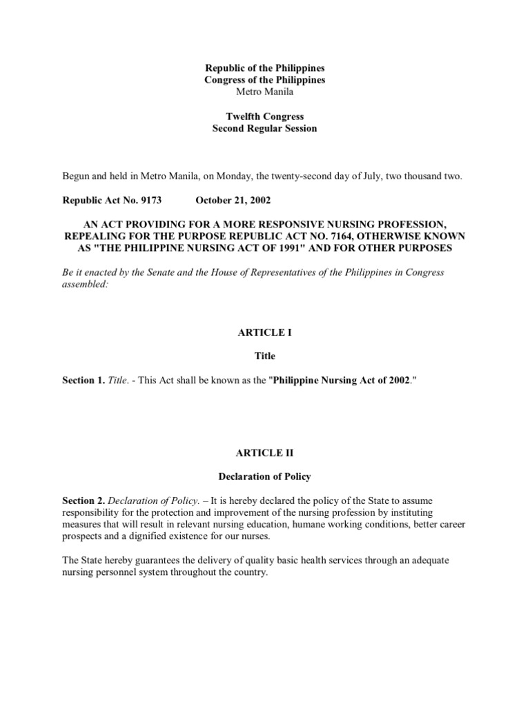 ra 9173 revisions Fundamentals comprehensive ra 9173 is the philippine in 1971, this republic act introduced other minor revisions in the nursing law thus amending ra 4704.