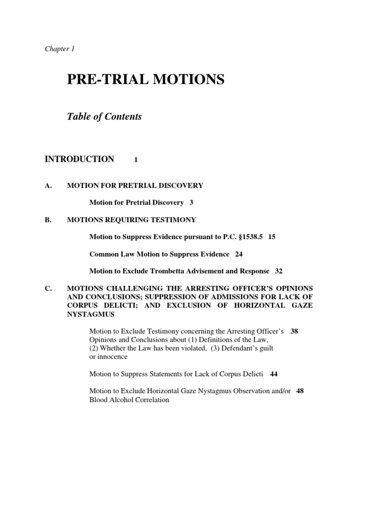 pre trial motions example