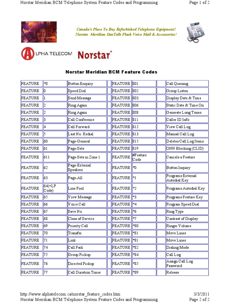 Norstar Codes - DocShare tips
