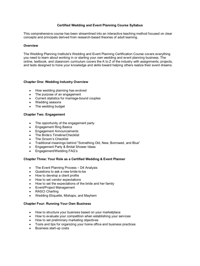 Download Certified Wedding And Event Planning Course Syllabus