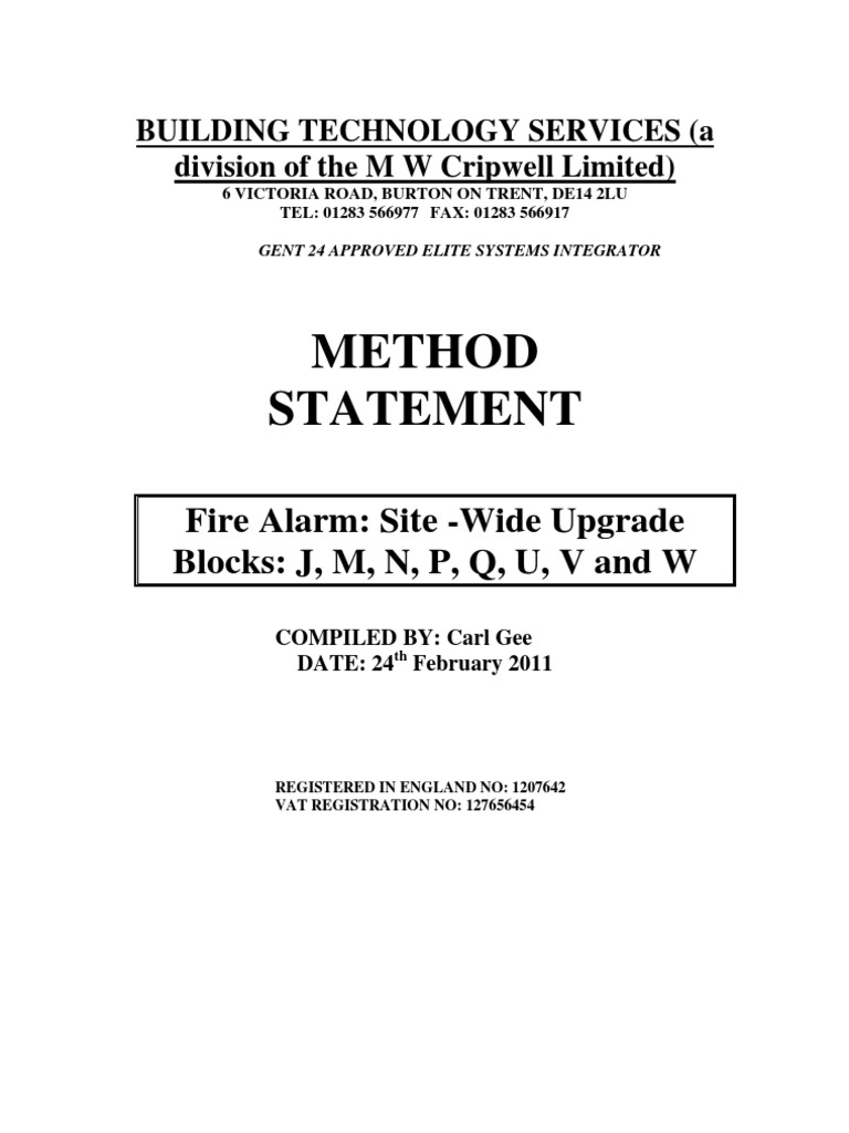 Method Statement For Site Preparation Crane Machine doc930597 – Method Statements Examples