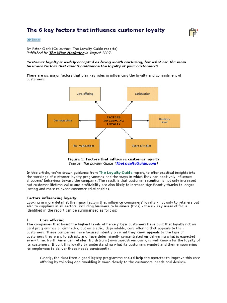 figuring out the factors that influence customers Organizational factors that influence customer service performance there are also factors on an organizational level that influence how customers feel about the service level, as demonstrated by ployhart, iddekinge & mackenzie (2011.