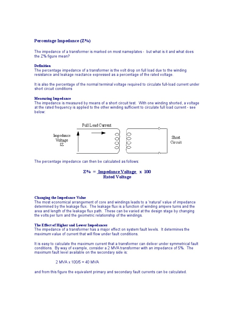 Download Calculating The Percentage Impedance Of A Transformer Circuit Calculator
