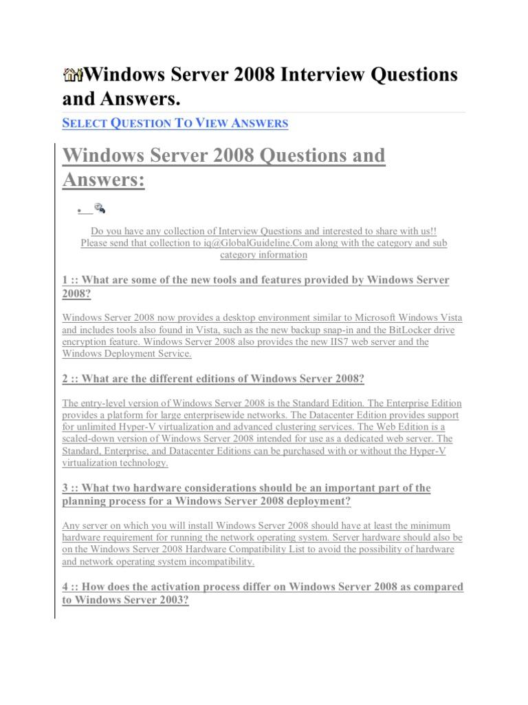 server 2008 questions