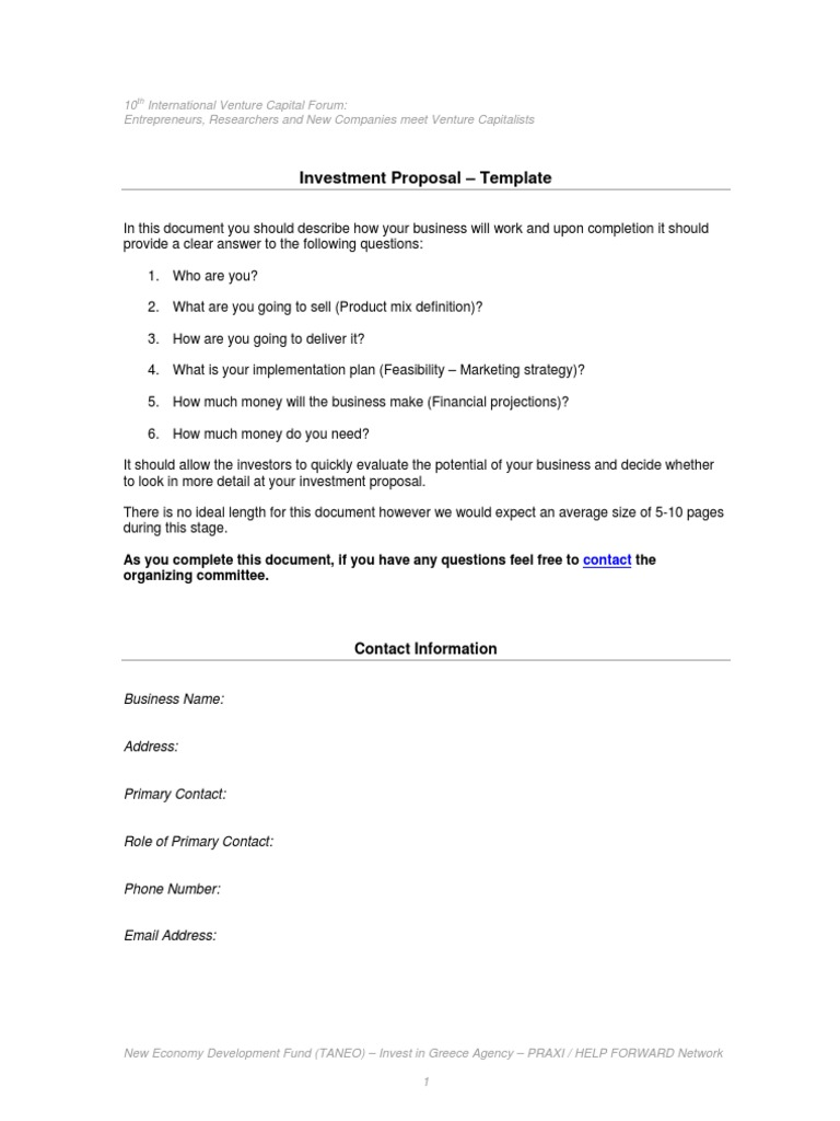 Download Investment Proposal Template Docshare