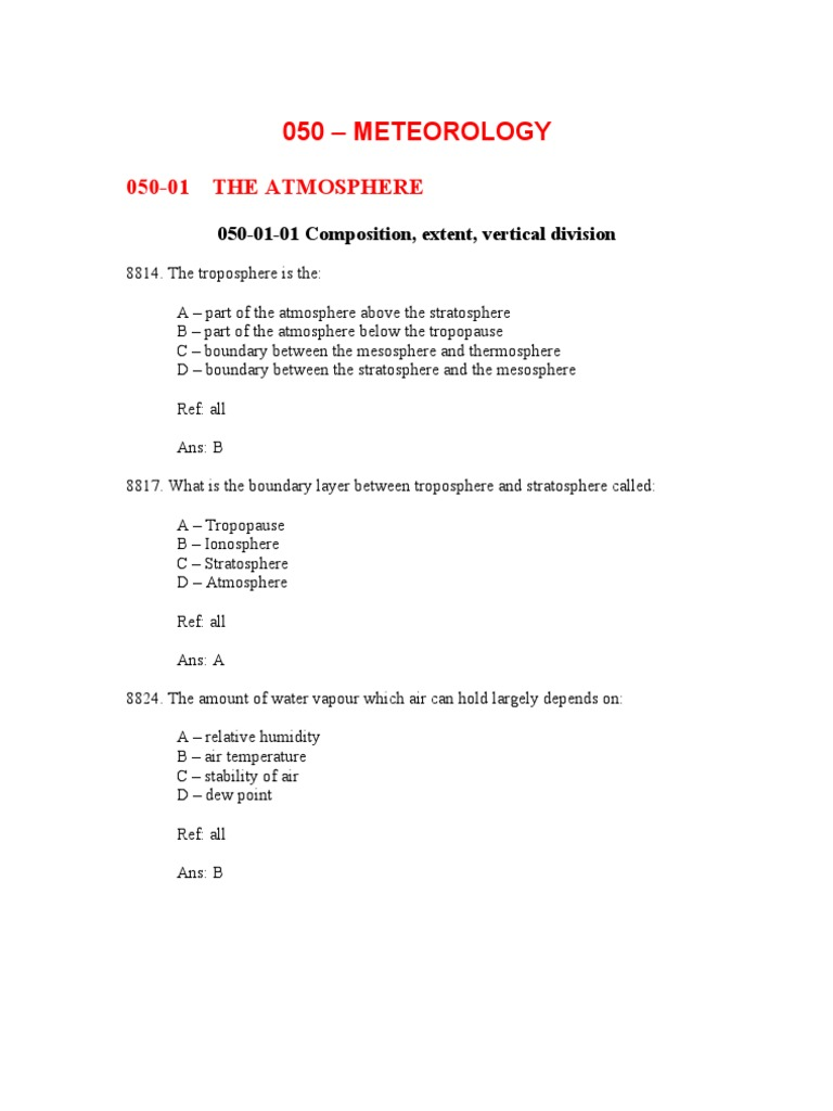 ATPL 500 Meteorology Questions