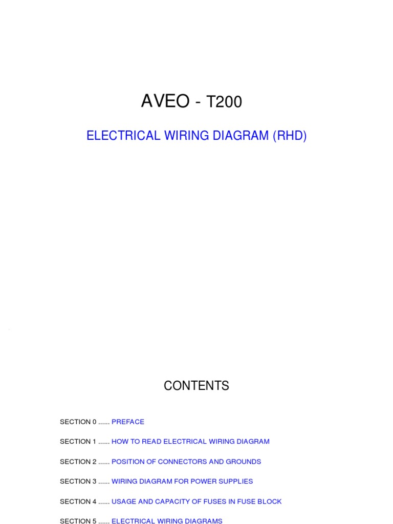 Download 2007 Yaris Electrical Wiring Diagram How To Read Aveo