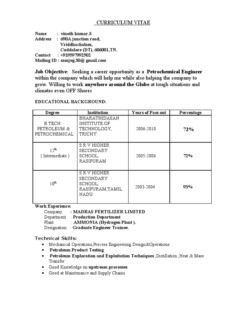 Vinoth Petroleum Engineer Resume Docshare