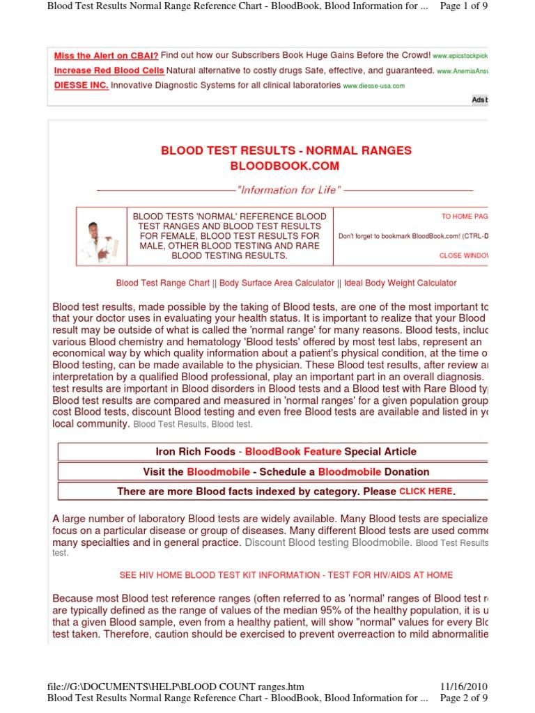 Blood Test Results Normal Range Reference Chart - Blood test