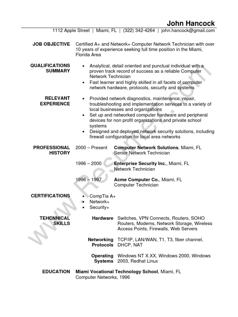 network technician resume sample docsharetips