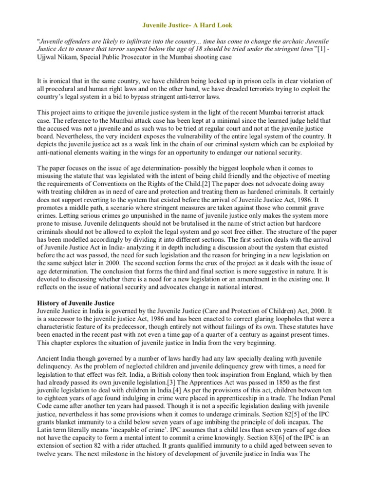 Juvenile justice essays