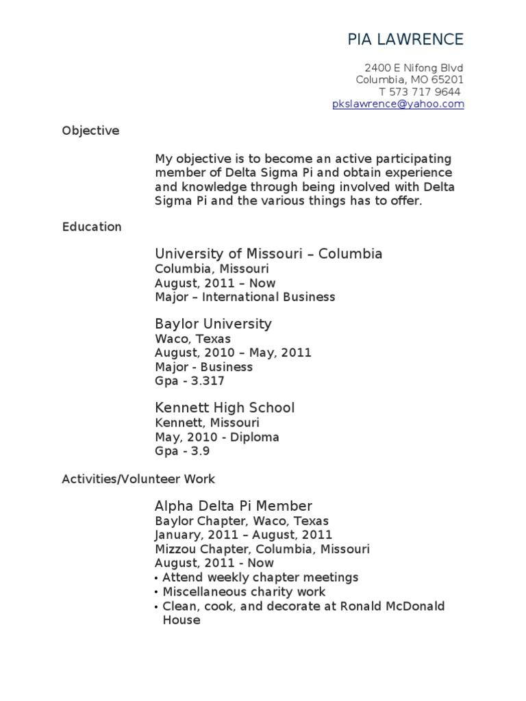 Delta resume