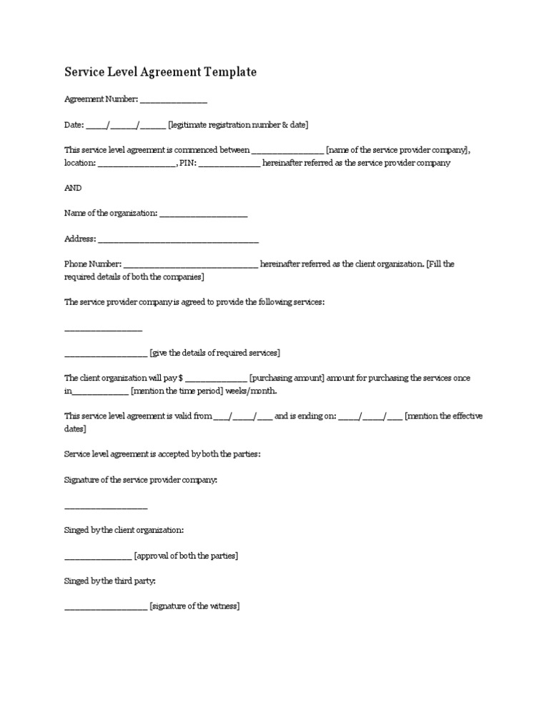 Download Service Level Agreement Template1 Docshare