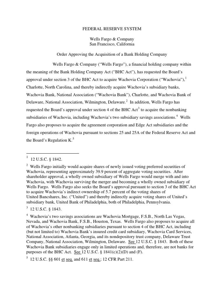 fed order approving wells fargo wachovia merger