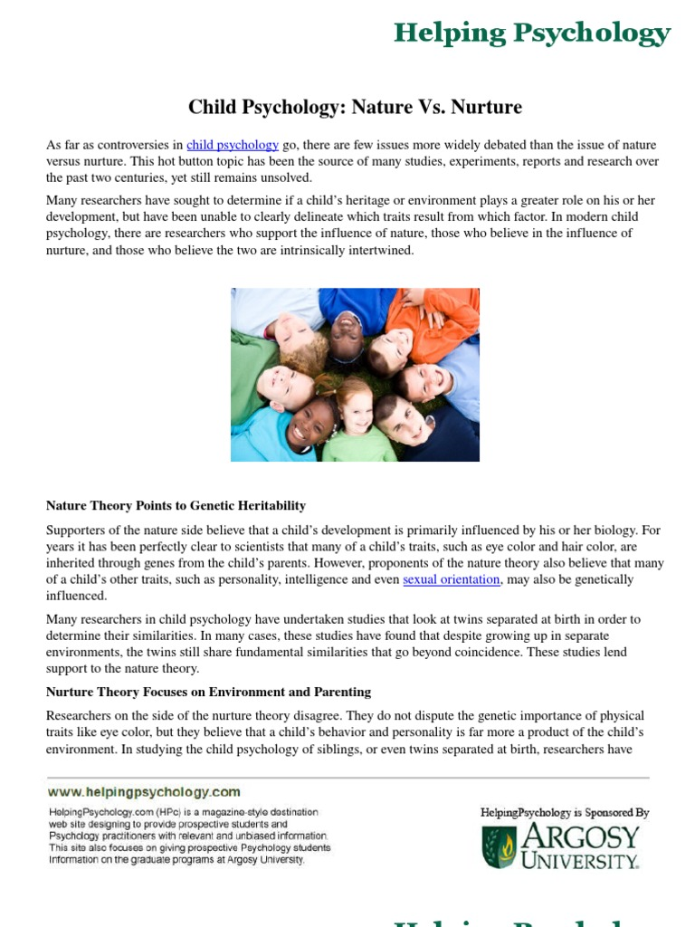 the controversies surrounding the topic of nature versus nurture 3 great resources for a nature vs nurture essay debate the gist of the nature versus nurture debate is whether or not behavior is influenced more by environmental factors including:.