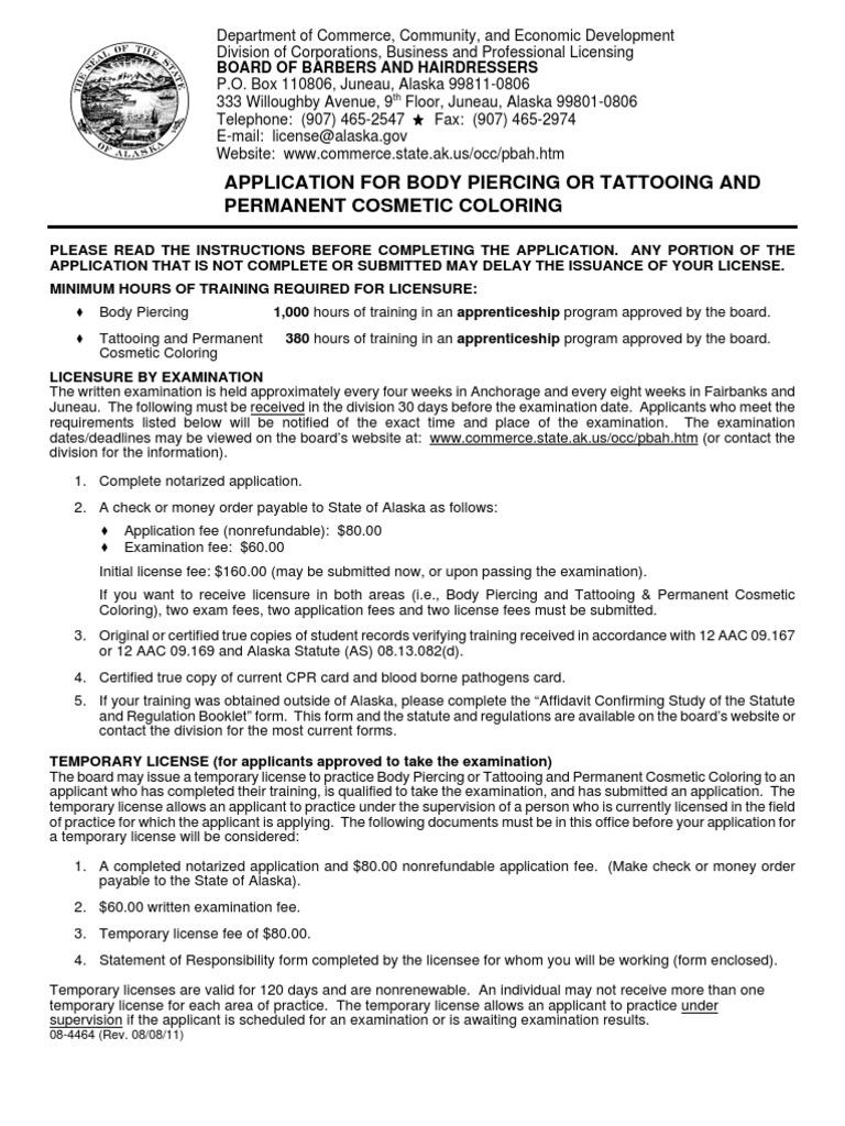 Download Alaska Tattoo Certification Application Docshare