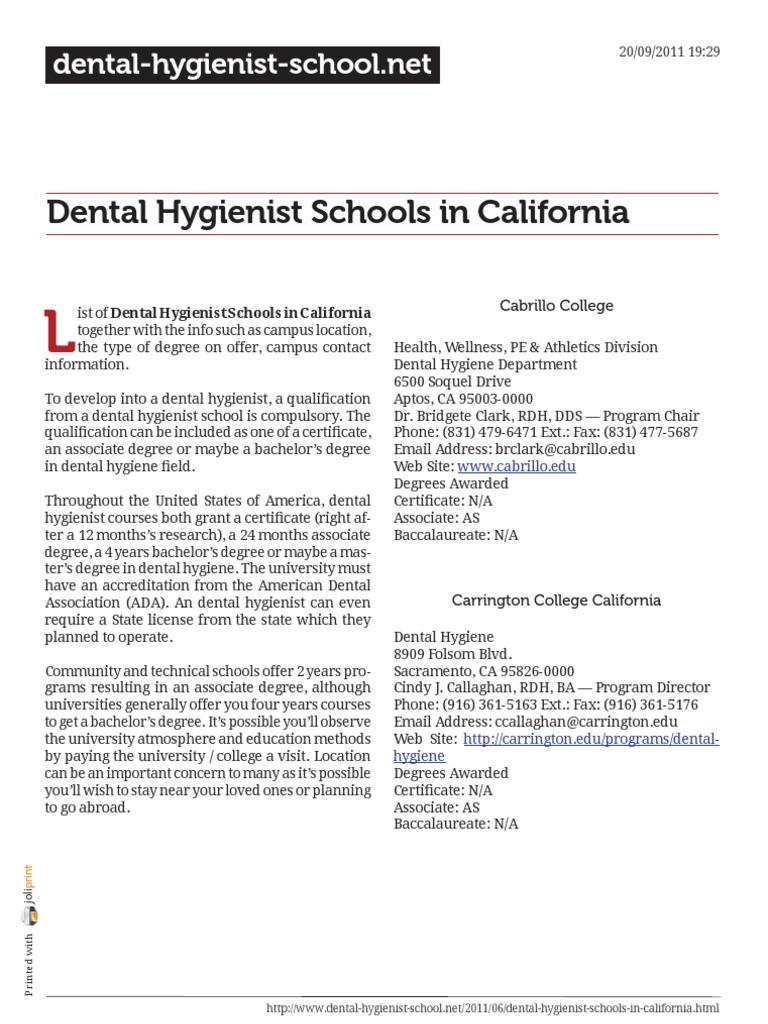 Dental Hygienist Schools In California Docshare