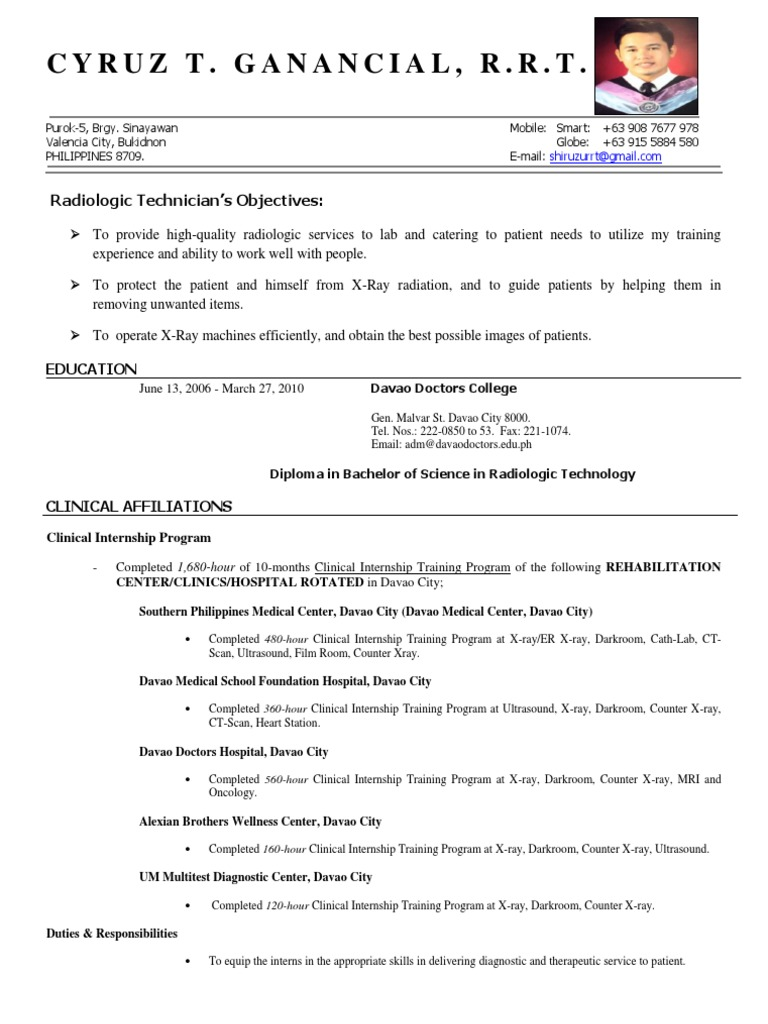 Rad Tech CV Resume - DocShare.tips