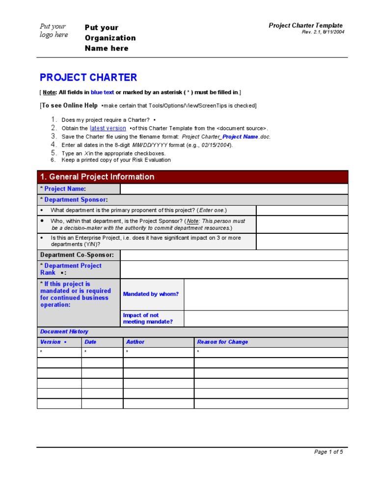 Project charter form template for One page project charter template