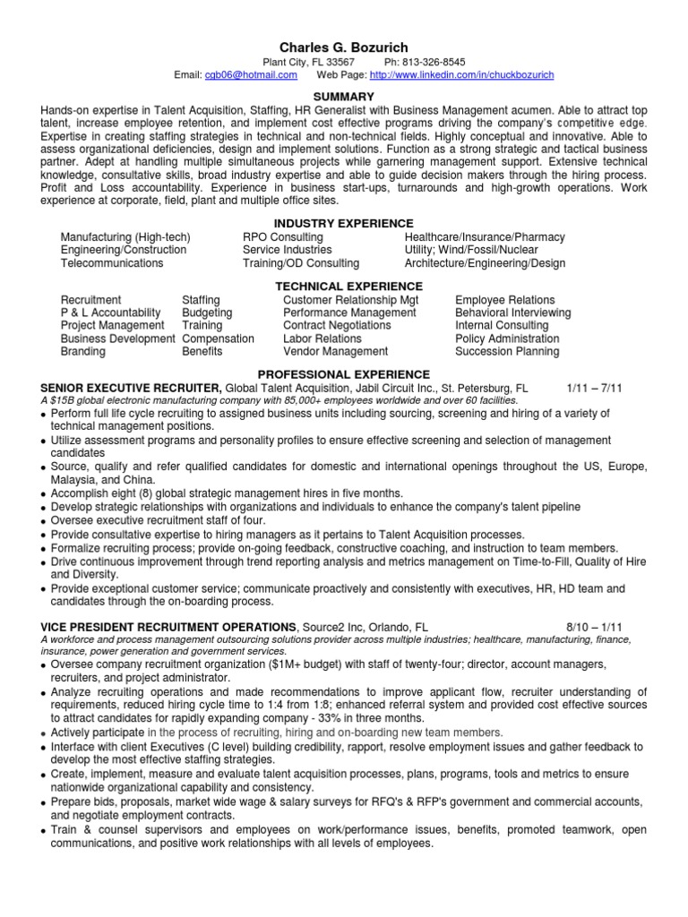 talent acquisition manager in tampa bay fl resume charles