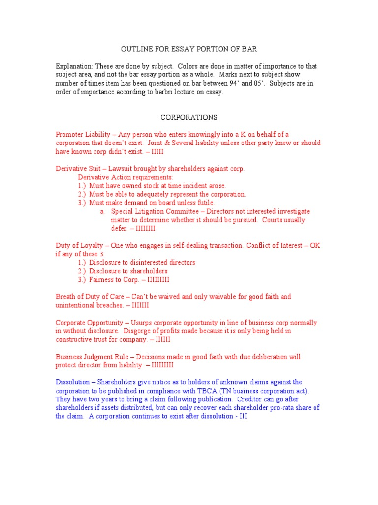 Download Essay Outline for TN Bar Exam 07' - DocShare tips