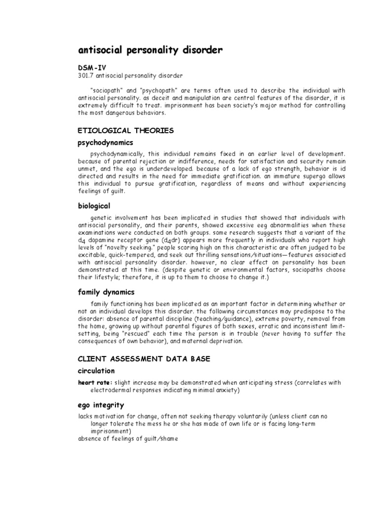 Download ANTISOCIAL PERSONALITY DISORDER - DocShare tips