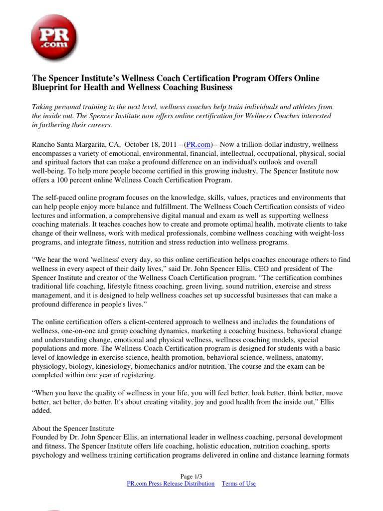 Download the spencer institutes wellness coach certification the spencer institutes wellness coach certification program offers online blueprint for health and wellness coaching business malvernweather Images