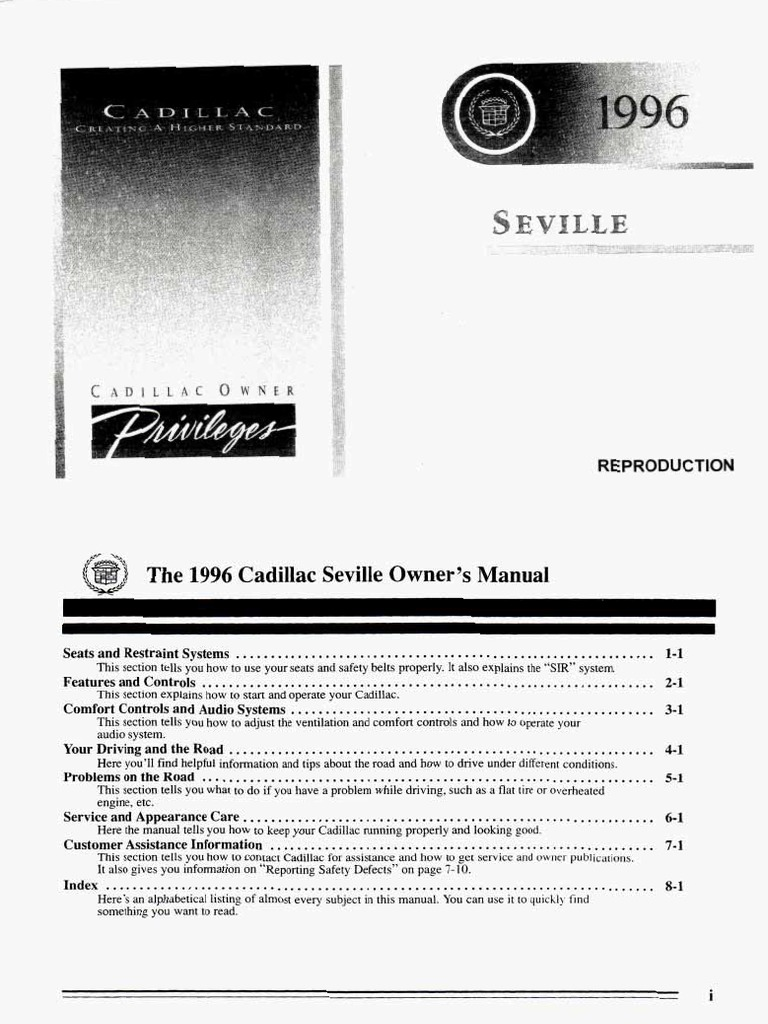 Download 35364778 1996 Cadillac Seville STS Owners Manual - DocShare.tips