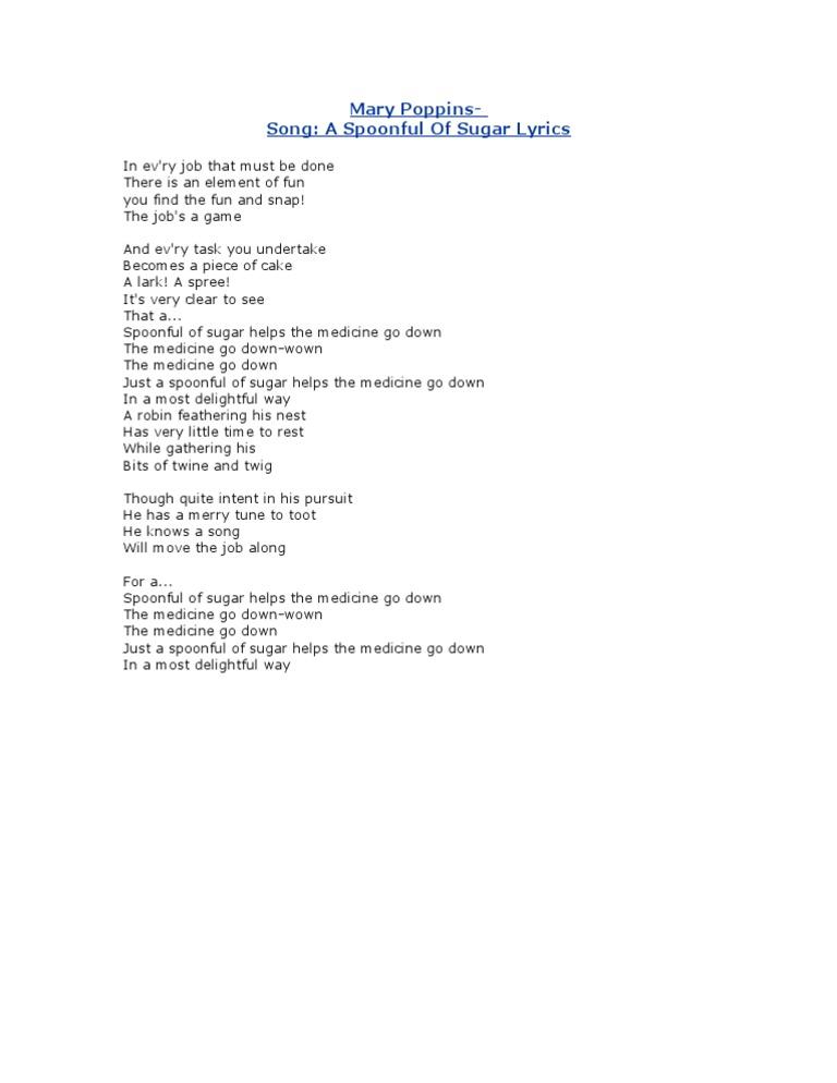Mary poppins lyrics