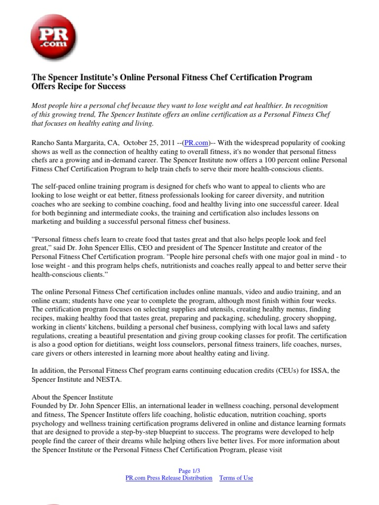 Download the spencer institutes wellness coach certification the spencer institutes online personal fitness chef certification program offers recipe for success malvernweather Images