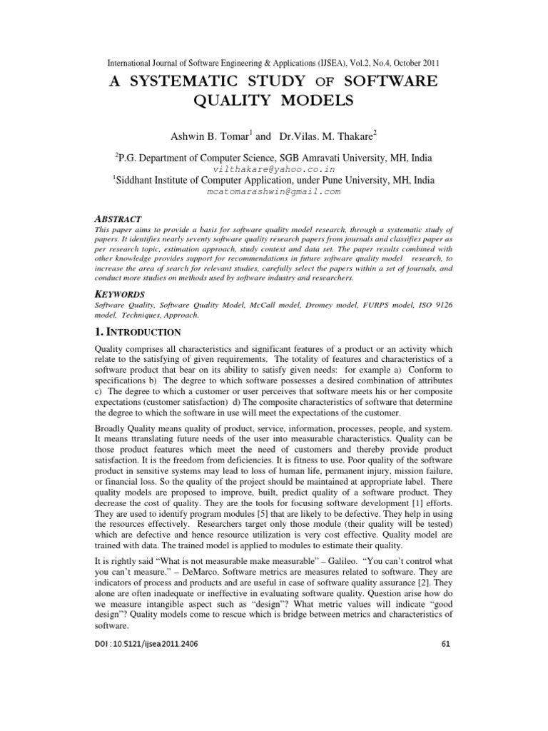 Download A SYSTEMATIC STUDY OF SOFTWARE QUALITY MODELS