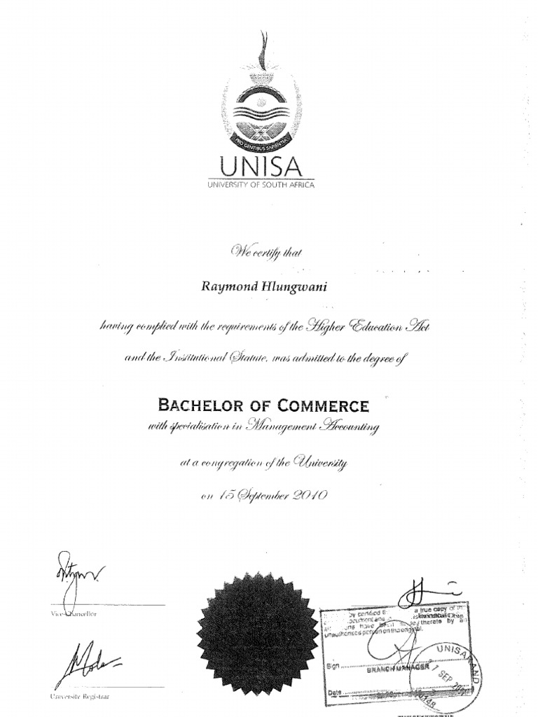 Unisa academic record id and copy of degree docshare yelopaper Choice Image