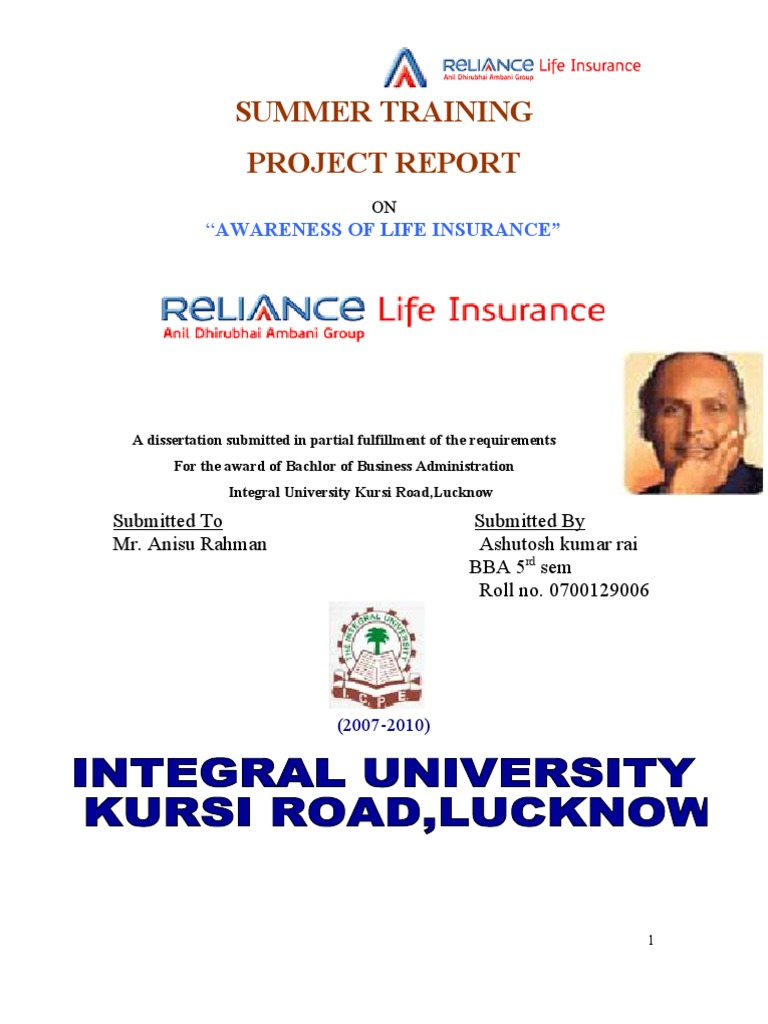reliance life insurance project essay About reliance life insurance company reliance life insurance company is a part of reliance - anil dhirubhai ambani group (adag) reliance capital is the holding company which is a well diversified business with an established presence in the financial services sector the group has both life insurance and general insurance companies along with its other business lines.
